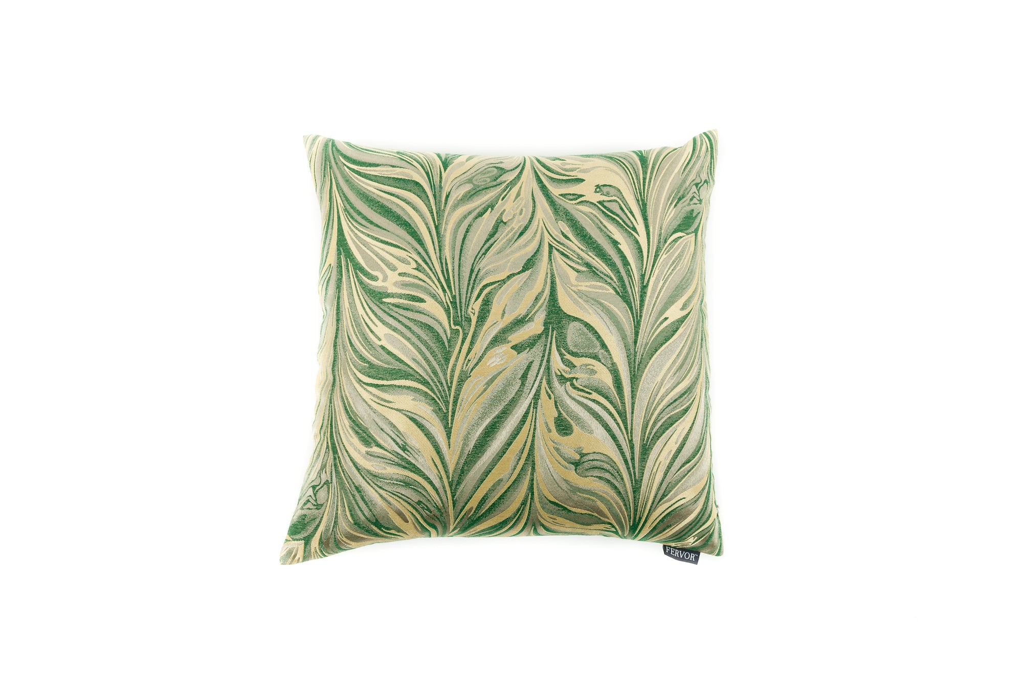 Cushion Abstract Feather Emerald - Fervor + Hue