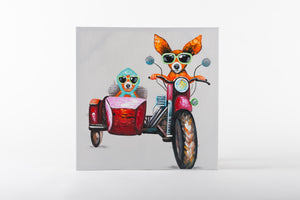Hand painted wall art on canvas, animal artworks, bikers