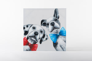 dog couple, hand painted wall art, animal artwork