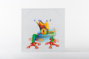 hand painted wall art, animal artwork, frog prince