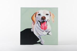 dog painting, hand painted art, canvas artworks, man's best friend
