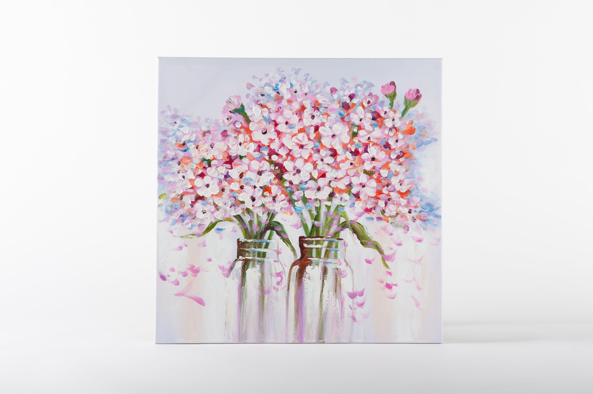 floral charm pink hand painted wall art on canvas - Fervor + Hue