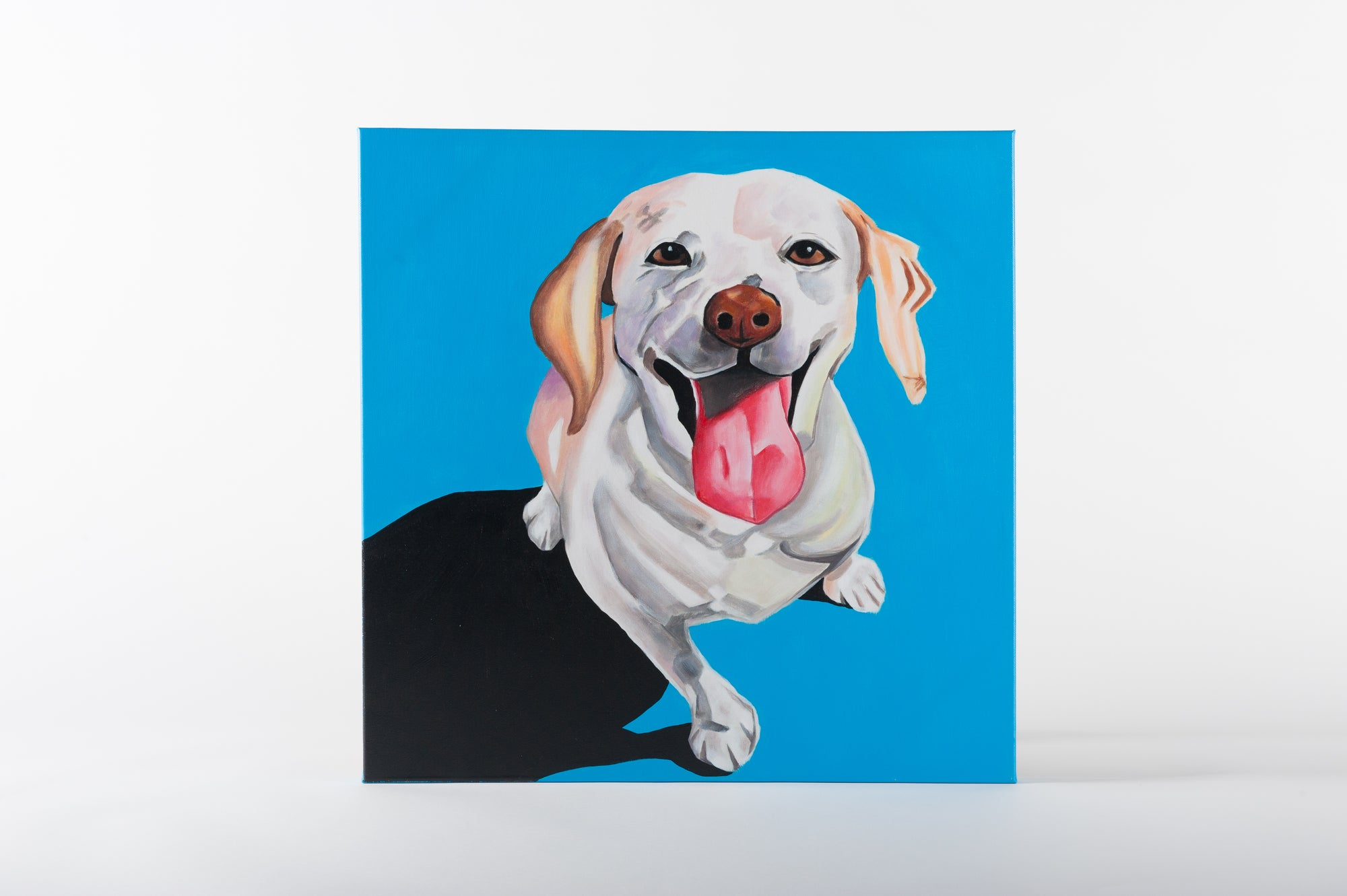 mans best friend blue  hand painted animal wall art on canvas - Fervor + Hue