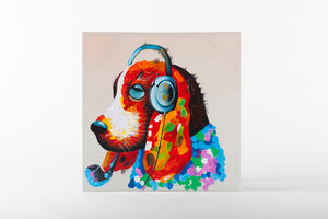 animal artwork, hound painting, colourful canvas art