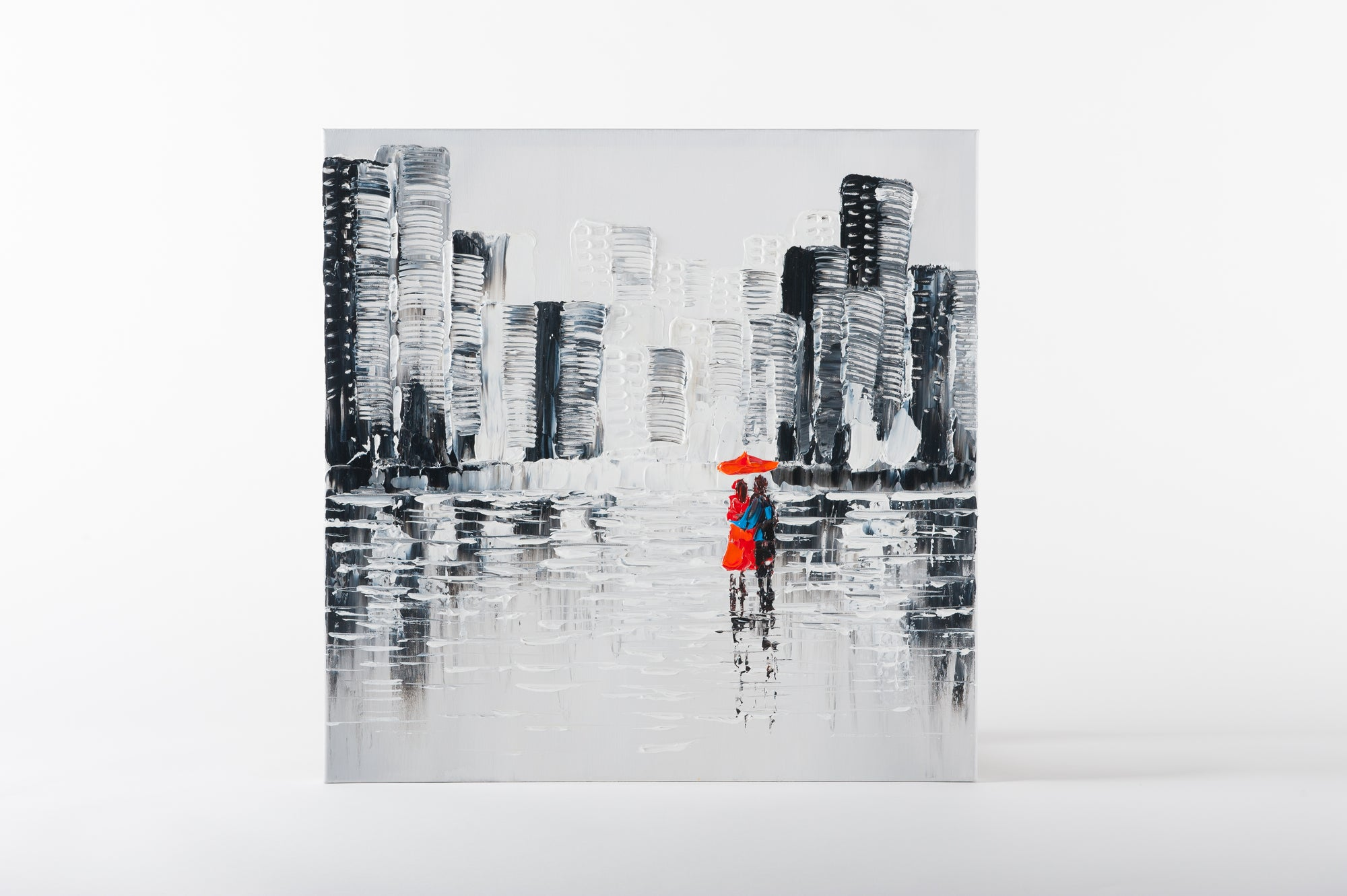 bw street scene hand painted wall art on canvas - Fervor + Hue