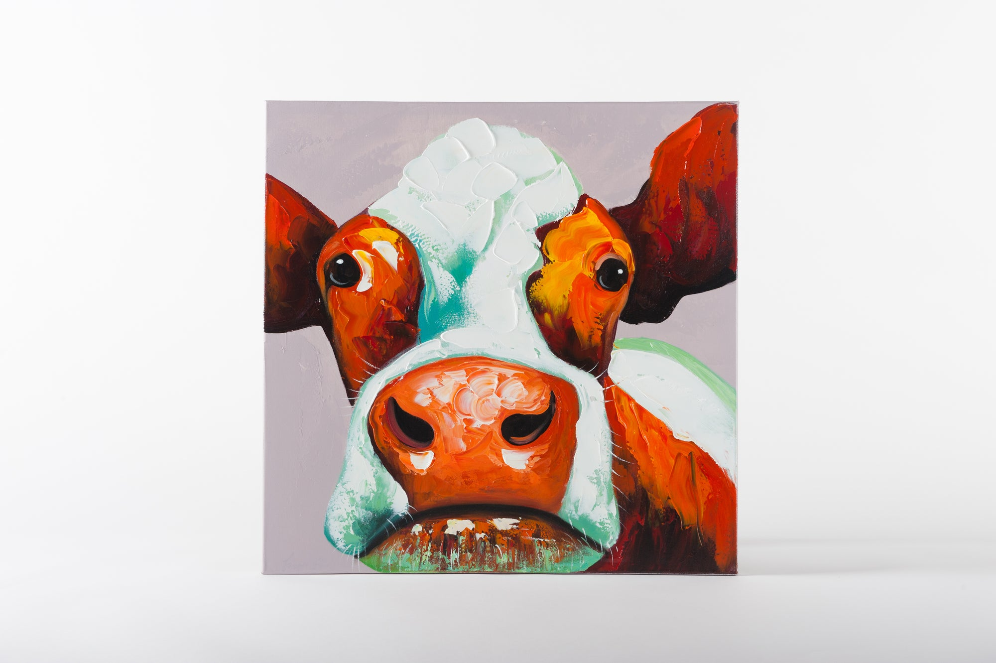 how now brown cow grey  hand painted animal wall art on canvas - Fervor + Hue