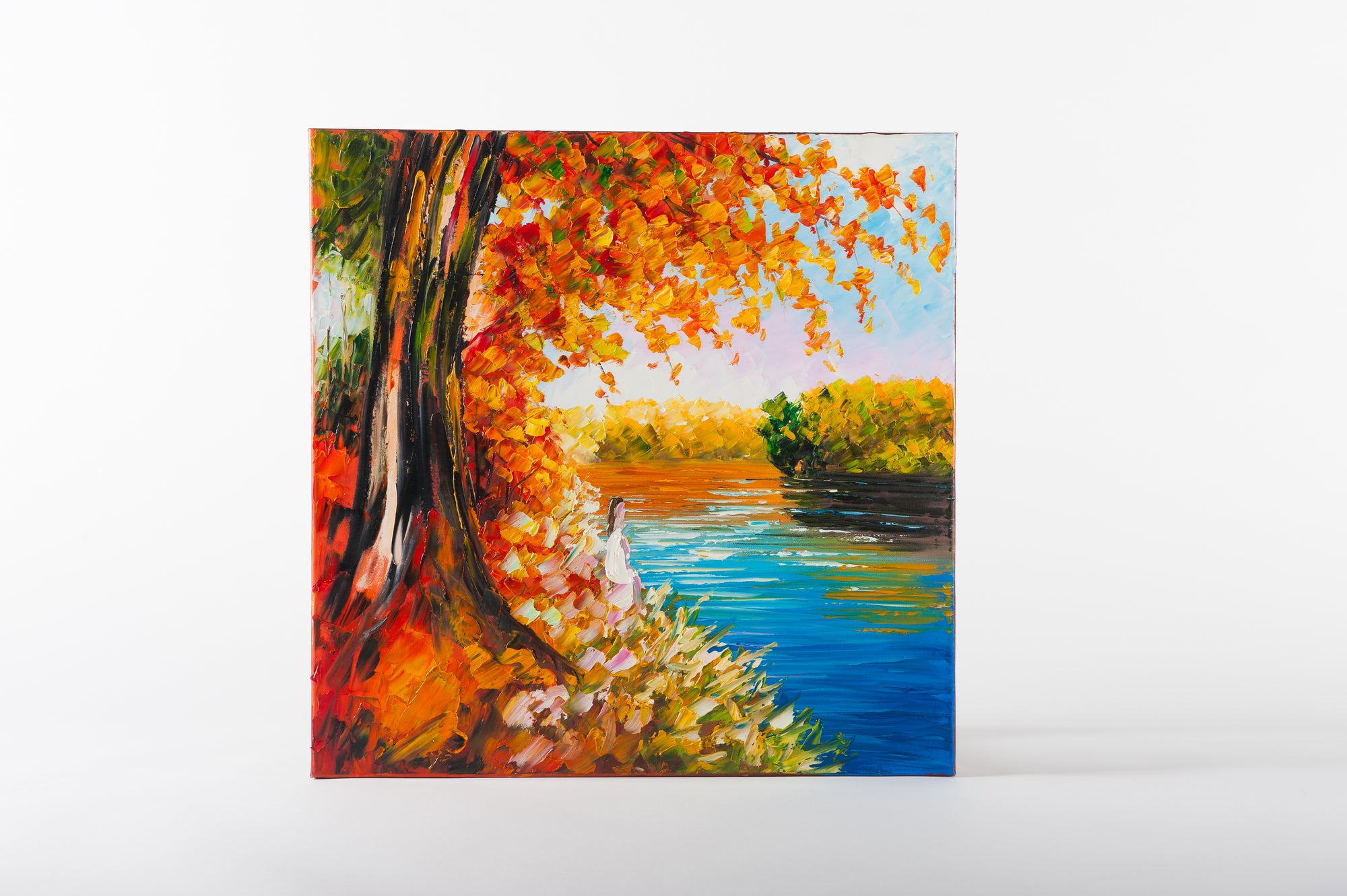 river walk hand painted wall art on canvas - Fervor + Hue