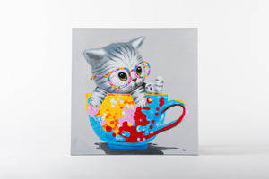 kitten paintings, girls room ideas, cat painting, animal artwork