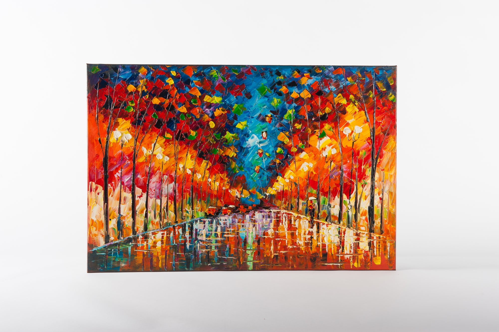city light at night hand painted wall art on canvas - Fervor + Hue