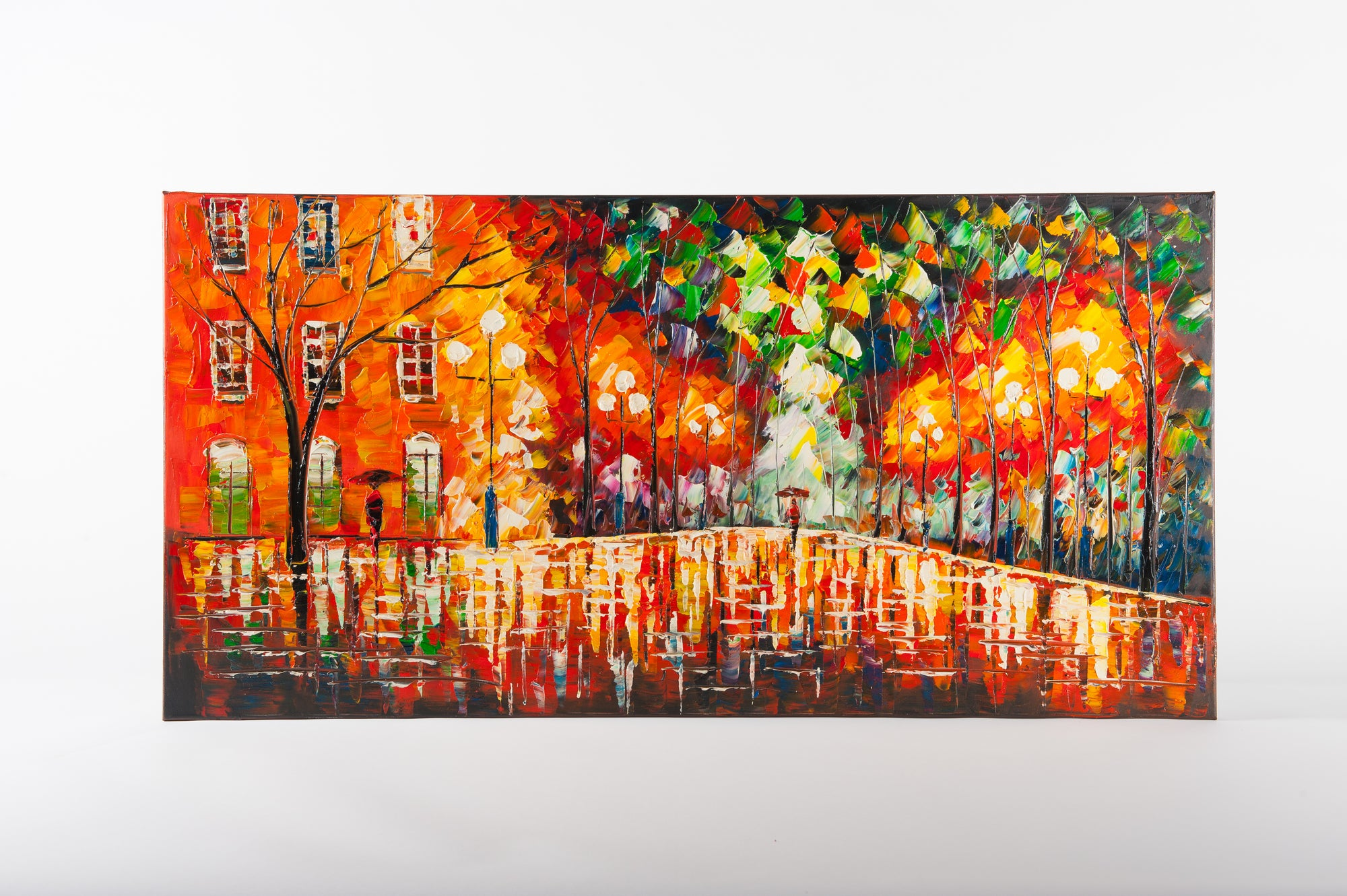 city night hand painted wall art on canvas - Fervor + Hue