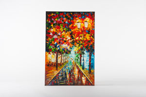 city night, avenue, light through trees, painting, artwork, canvas paintings, colourful