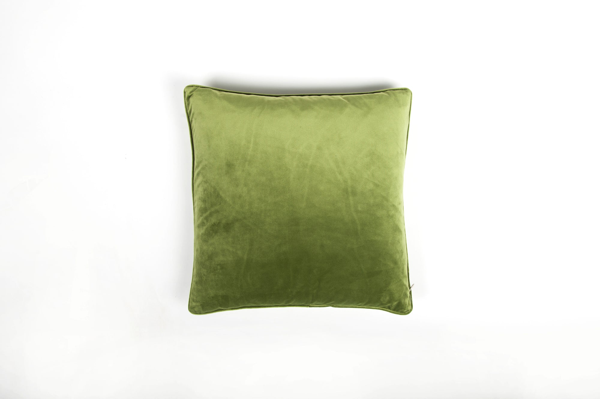 Velvet Moss Green Piped Cushion - Fervor + Hue