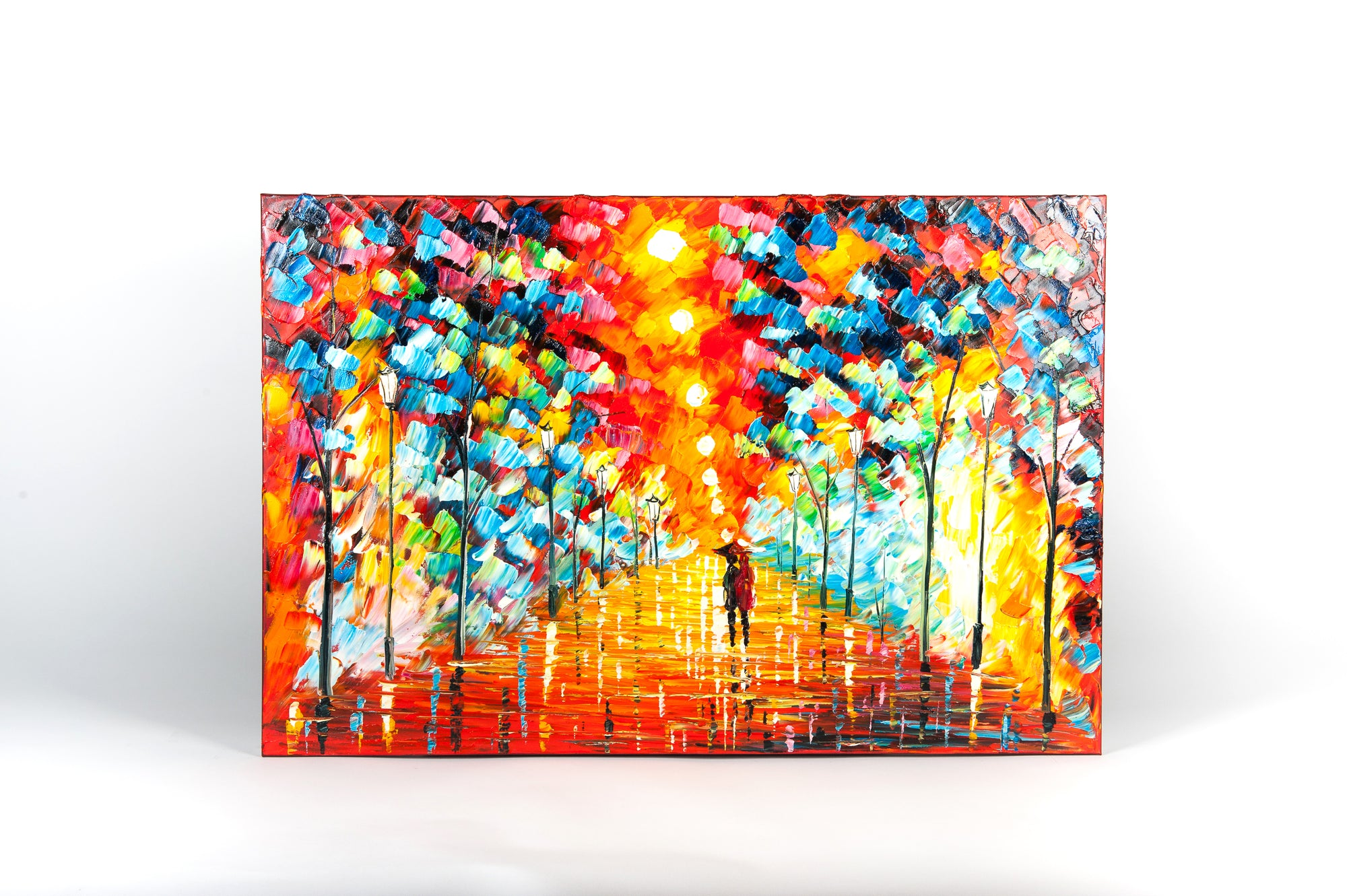 city evening stroll hand painted wall art on canvas - Fervor + Hue