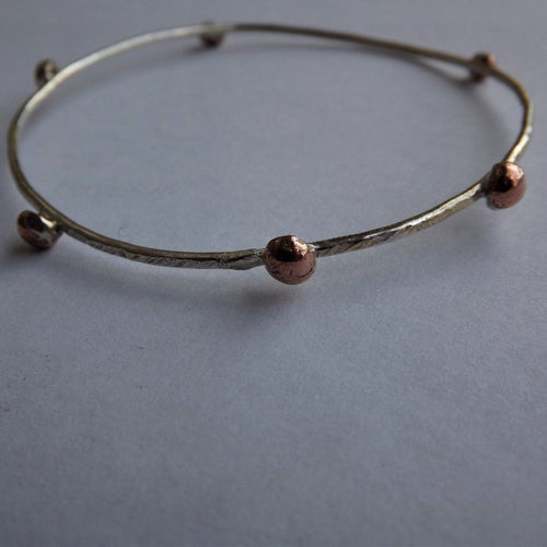 Silver & Copper Bobble Bangle