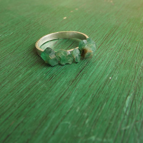 Rough Cut Emerald Ring