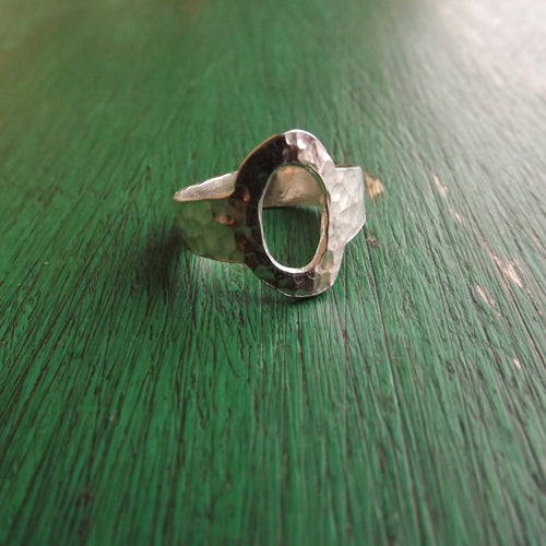 Hammered Silver Oval Ring