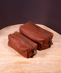 Hand-Stitched Leather Toiletry Bags