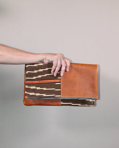 Orange Leather Foldover Clutch