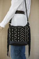 Black Leather Mud Cloth Shoulder Bag with Fringe