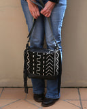 Black Leather Fringe Purse by Chameleon Goods