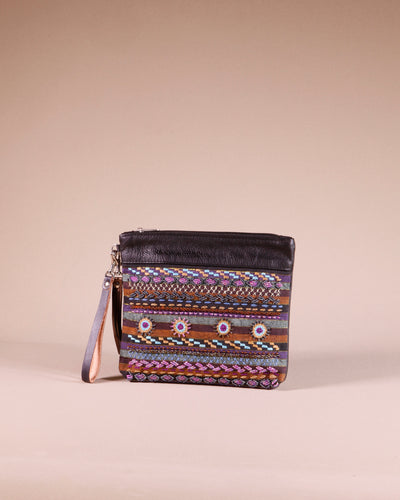 Embellished Black Leather Clutch