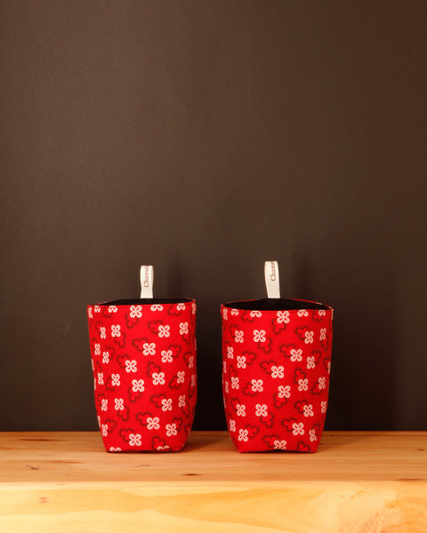 Red Fabric Storage Baskets - Chameleon Goods