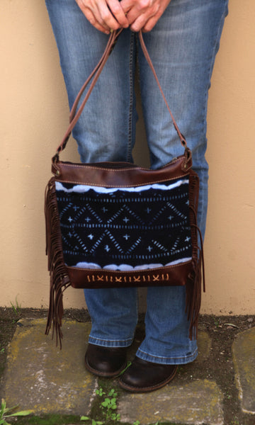 Brown Leather Boho Bag with Fringe by Chameleon Goods