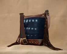Brown Leather Fringe Bag with Indigo Cloth