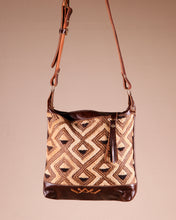 Leather Boho Shoulder Bag with Cut Pile Kuba Cloth