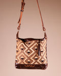 Brown Leather Crossbody Bag with Kuba cloth; handmade in Africa by Chameleon Goods