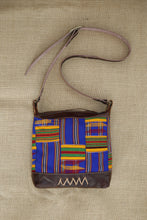 Brown Leather Shoulder Bag with Kente Cloth