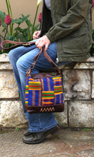 Brown Leather Shoulder Bag with Kente Cloth by Chameleon Goods
