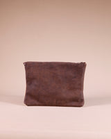 Kinshasa Large Brown Leather Kuba Clutch