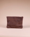 Kinshasa Large Brown Leather Boho Clutch