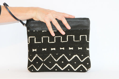 Large Black Mud Cloth Clutch - converts to cross body bag