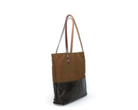 Brown Leather Tote Bag with Yellow Cotton Print