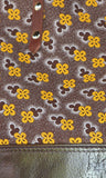 Brown Leather Tote Bag with Brown Cotton Print - close-up of cotton print
