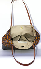 Brown Leather Tote Bag with Brown Cotton Print - interior