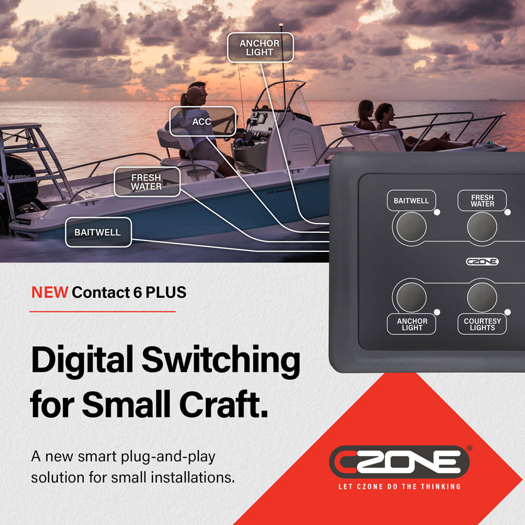 CZone answers call for entry-level digital switching solution with the new Contact 6 PLUS system.