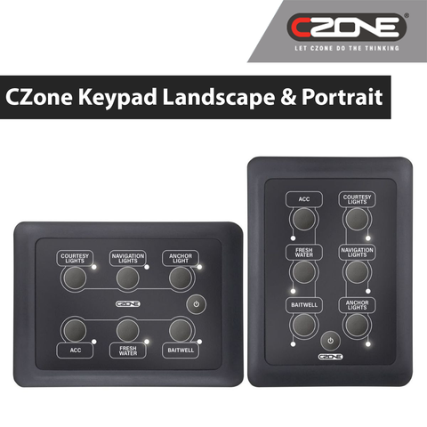 CZone - 6 Way Waterproof Keypad - Landscape - 80-911-0162-00