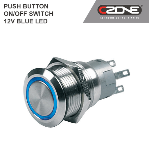 CZone - Push Button ON / OFF Switch 12V Blue LED - 80-511-0003-00
