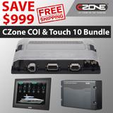 CZone Marine and Automotive Bundle includes 80-911-0100-00 | 80-911-0119-00 | 80-911-0134-00. Czone Touch 10, digital breakout switch and Combination Output Interface bundle for digital switching systems for your boat buy today and save at CZoneonline.com | Price of 5,663.58 USD with free shipping