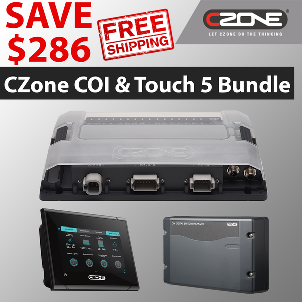 CZone Coi and touch 5 Marine Pack includes 80-911-0124-00 | 80-911-0134-00 | 80-911-0119-00. Combination output interface, digital breakout switch and Touch 5 included. Great deal today at CZoneonline.com | Price of 2582.09 USD with free shipping
