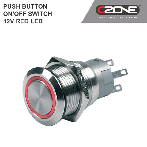 CZone - Push Button ON / OFF Switch 12V Red LED - 80-511-0001-00