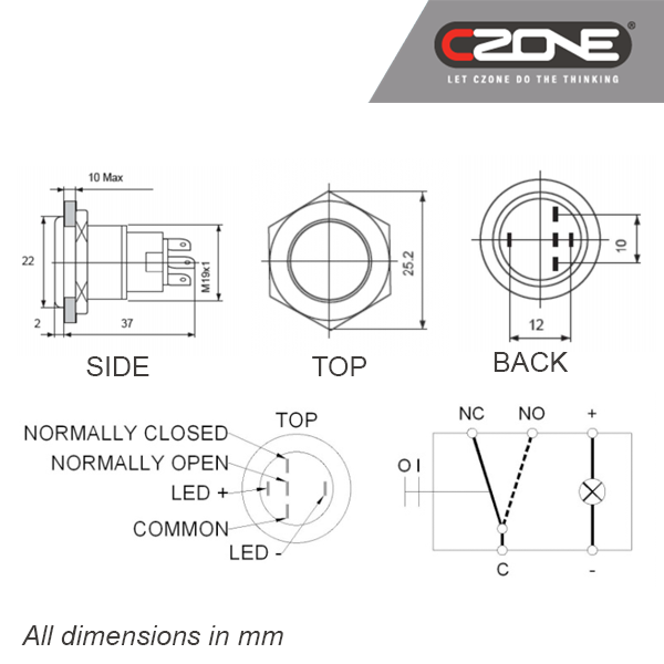 czone push button on  off switch 12v red led 80
