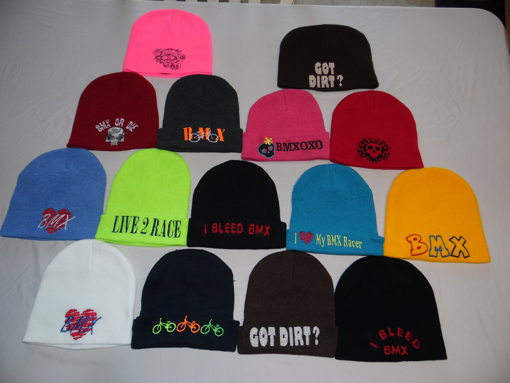 BMX Embroidered Beanies, Skull Caps, and Long Skull Caps (Rastafarian Style)