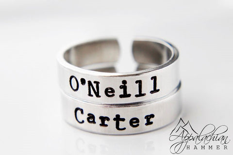 Carter or O'Neill Stargate Inspired Hand Stamped Adjustable Rings