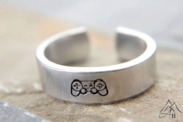 Video Game Controller Hand Stamped Ring by Appalachian Hammer