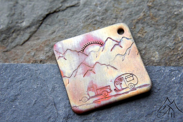 Camping Scene, Flame Painted Copper Hand Stamped Key Chain