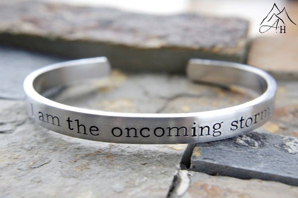 I Am The Oncoming Storm, Doctor Who, Hand Stamped, Cuff Bracelet, 10th Doctor, 50th Anniversary Special, by Appalachian Hammer, Jewelry